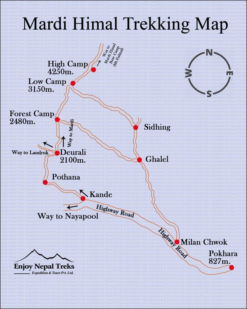 Mardi Himal Trekking Map